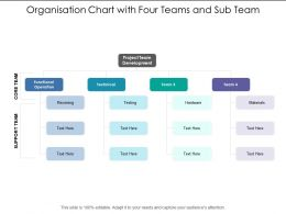 Organisation Chart With Four Teams And Sub Team