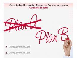 Organisation Developing Alternative Plans For Increasing Customer Benefits