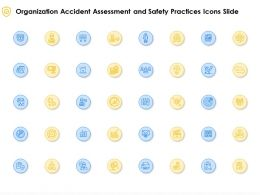 Organization Accident Assessment And Safety Practices Icons Slide Ppt Powerpoint Presentation Icon Deck