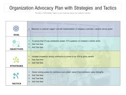 Organization Advocacy Plan With Strategies And Tactics
