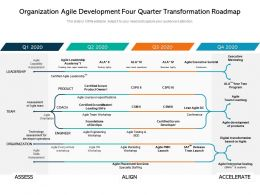 Organization Agile Development Four Quarter Transformation Roadmap