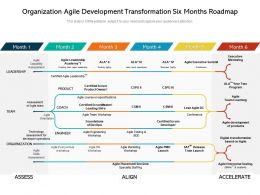 Organization Agile Development Transformation Six Months Roadmap