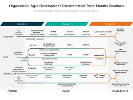 Organization Agile Development Transformation Three Months Roadmap