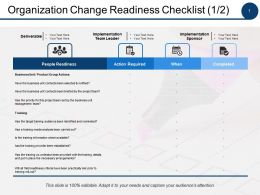 Organization Change Readiness Checklist Action Required Ppt Powerpoint Presentation File Styles