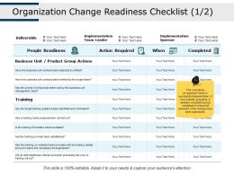 Organization Change Readiness Checklist People Readiness Action Required