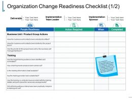 Organization Change Readiness Checklist Ppt Inspiration