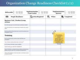Organization Change Readiness Checklist Presentation Examples