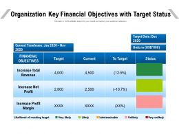 Organization Key Financial Objectives With Target Status