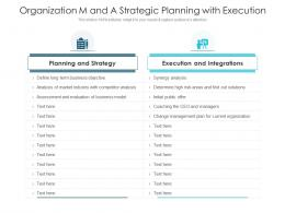 Organization M And A Strategic Planning With Execution