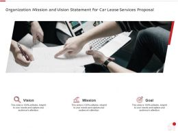 Organization Mission And Vision Statement For Car Lease Services Proposal Ppt Summary Slides