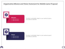 Organization Mission And Vision Statement For Mobile Game Proposal Ppt Powerpoint Presentation Tips