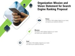 Organization Mission And Vision Statement For Search Engine Ranking Proposal Ppt Design Ideas