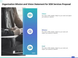 Organization Mission And Vision Statement For SEM Services Proposal Ppt Powerpoint Presentation Show Format Ideas