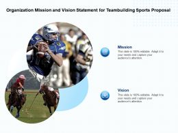 Organization Mission And Vision Statement For Teambuilding Sports Proposal Ppt Slides