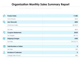 Organization Monthly Sales Summary Report