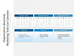 Organization Quarterly Marketing Task List Calendar