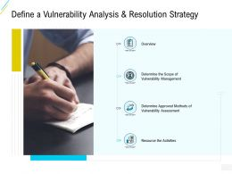 Organization Risk Probability Management Define A Vulnerability Analysis And Resolution Strategy Ppt Layouts