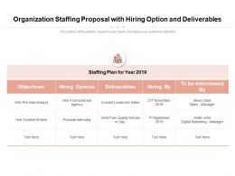 Organization Staffing Proposal With Hiring Options And Deliverables