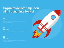 Organization Start Up Icon With Launching Rocket
