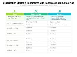 Organization Strategic Imperatives With Roadblocks And Action Plan