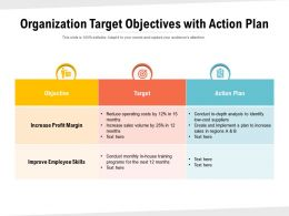 Organization Target Objectives With Action Plan