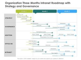 Organization Three Months Intranet Roadmap With Strategy And Governance