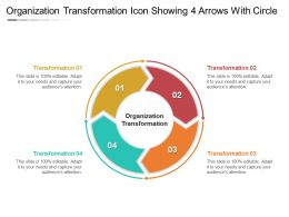 Organization Transformation Icon Showing 4 Arrows With Circle