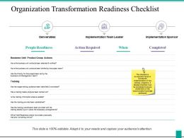 Organization Transformation Readiness Checklist Ppt Powerpoint Presentation Icon Show