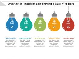 Organization Transformation Showing 5 Bulbs With Icons