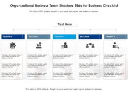 Organizational Business Team Structure Slide For Business Checklist Infographic Template