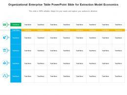 Organizational Enterprise Table Powerpoint Slide For Extraction Model Economics Infographic Template