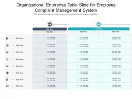 Organizational Enterprise Table Slide For Employee Complaint Management System Infographic Template