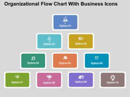 Organizational Flow Chart With Business Icons Flat Powerpoint Design