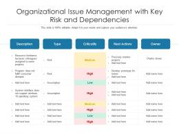 Organizational Issue Management With Key Risk And Dependencies