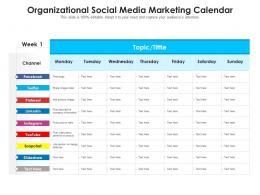Organizational Social Media Marketing Calendar