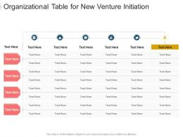 Organizational Table For New Venture Initiation Infographic Template