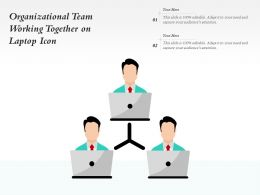 Organizational Team Working Together On Laptop Icon