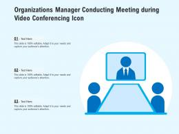 Organizations Manager Conducting Meeting During Video Conferencing Icon