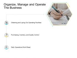 Organize Manage And Operate The Business Company Management Ppt Themes