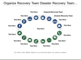 Organize Recovery Team Disaster Recovery Team Release Management Business Continuity