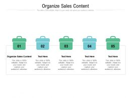 Organize Sales Content Ppt Powerpoint Presentation Slides Files Cpb