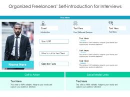 Organized Freelancers Self Introduction For Interviews Infographic Template