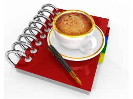 Organizer Pen Cup Of Coffee For Business Meeting Stock Photo