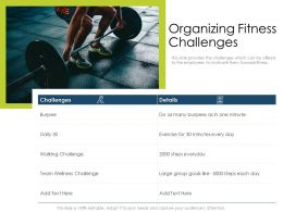 Organizing Fitness Challenges Exercise Day Powerpoint Presentation Icons