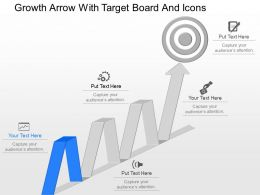 ot Growth Arrow With Target Board And Icons Powerpoint Template