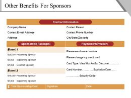 Other Benefits For Sponsors Powerpoint Slide Presentation Tips