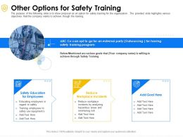 Other Options For Safety Training Workplace Ppt Powerpoint Presentation Layouts Topics