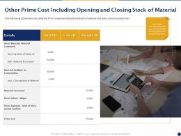 Other Prime Cost Including Opening And Closing Stock Of Material Ppt Powerpoint Presentation Deck