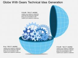 ou Globe With Gears Technical Idea Generation Flat Powerpoint Design