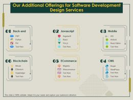 Our Additional Offerings For Software Development Design Services Ppt Icon